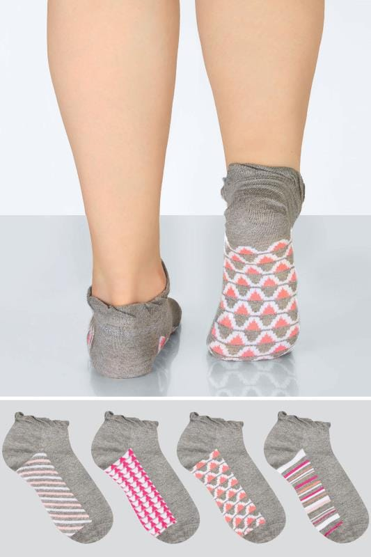 Plus Size Socks 4 PACK Grey & Multi Sparkle Geo Print Trainer Socks