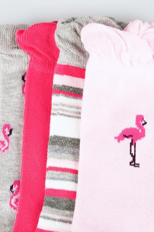 4 PACK Grey & Pink Assorted Flamingo & Striped Socks