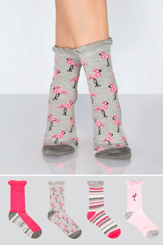 Plus Size Socks 4 PACK Grey & Pink Assorted Flamingo & Striped Socks
