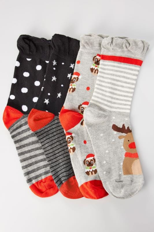 4 PACK Multi Christmas Pug & Reindeer Socks With Comfort Tops