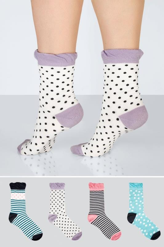 Plus Size Socks 4 PACK Multicoloured Assorted Polka Dot & Striped Socks