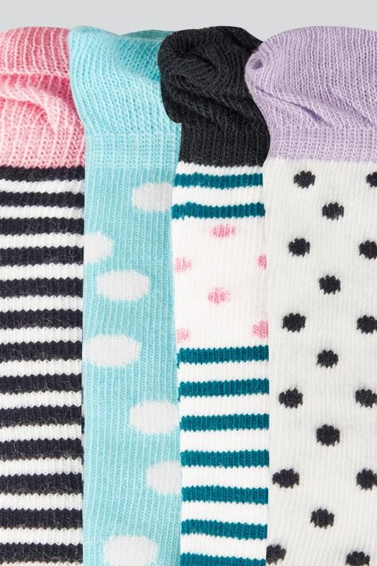 4 PACK Multicoloured Assorted Polka Dot & Striped Socks