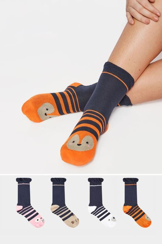 Plus Size Plus Size Socks 4 PACK Navy Assorted Animal Socks