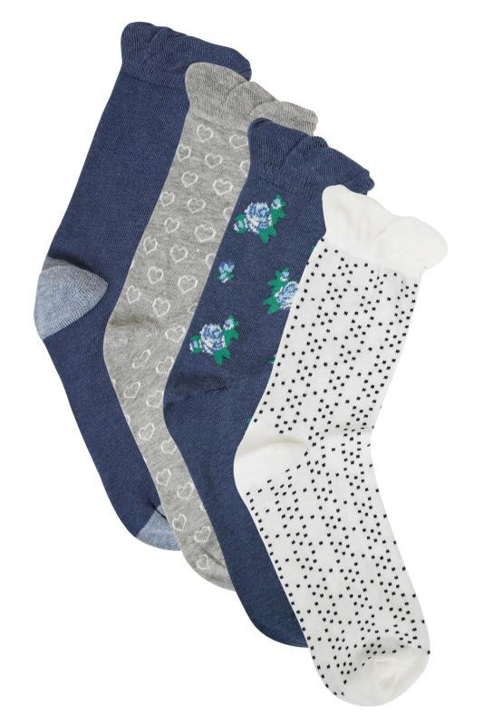 Plus Size Socks 4 PACK Navy Blue & Multi Floral Patterned Socks
