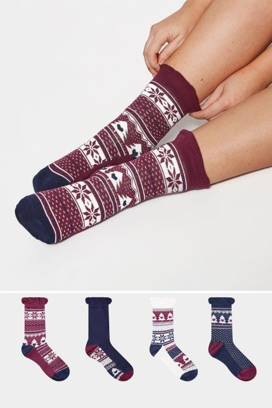 Plus Size Plus Size Socks 4 PACK Navy Fairisle Ankle Socks