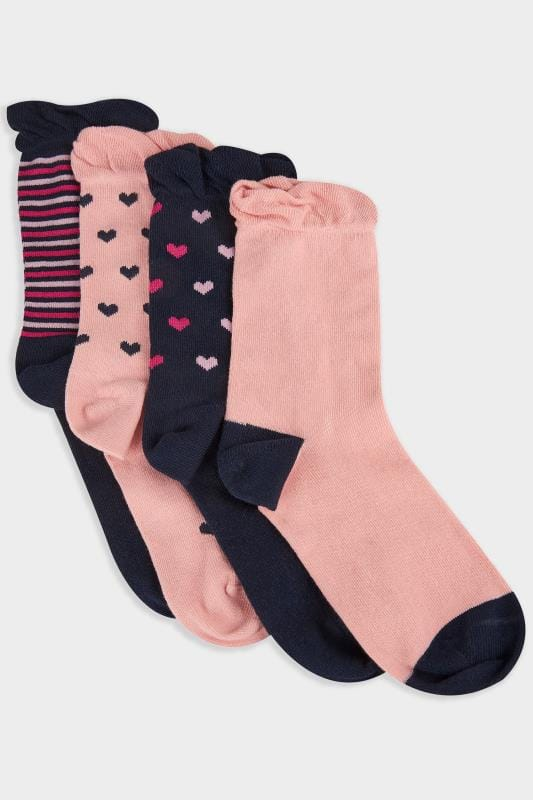 4 PACK Navy & Pink Heart & Striped Socks