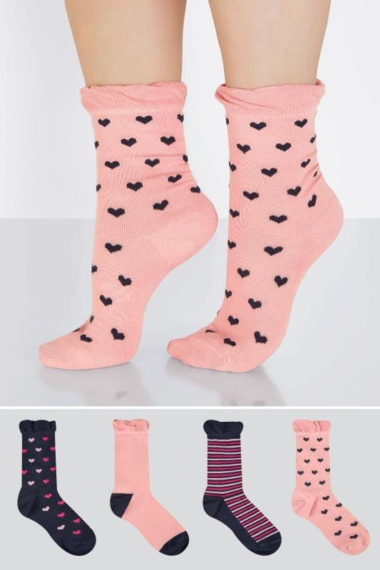 Plus Size Socks 4 PACK Navy & Pink Heart & Striped Socks