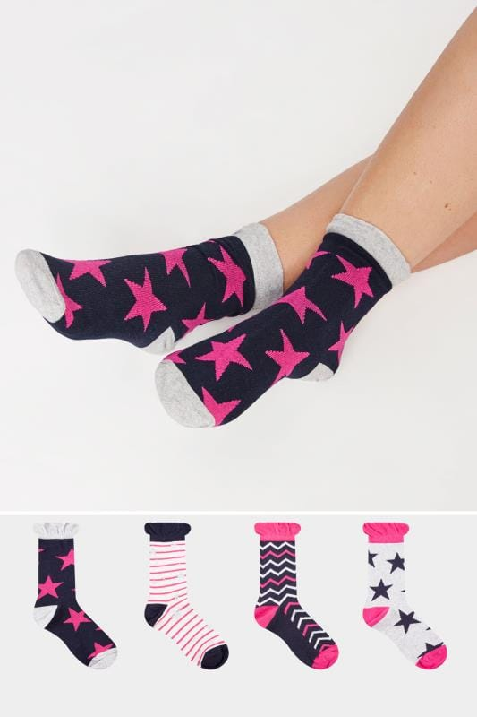 Plus Size Socks 4 PACK Navy Striped & Star Print Ankle Socks