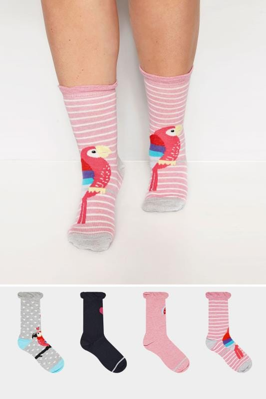 Plus Size Socks 4 PACK Parrot Ankle Socks