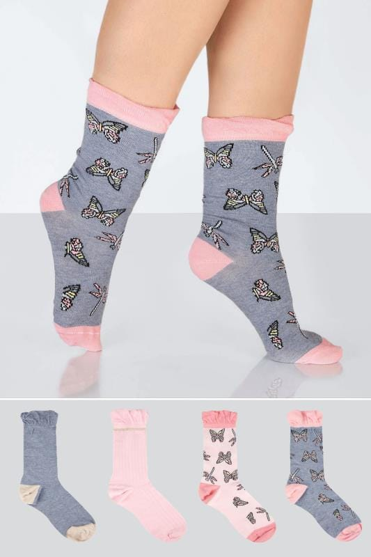 Plus Size Socks 4 PACK Pink & Blue Butterfly Print Socks