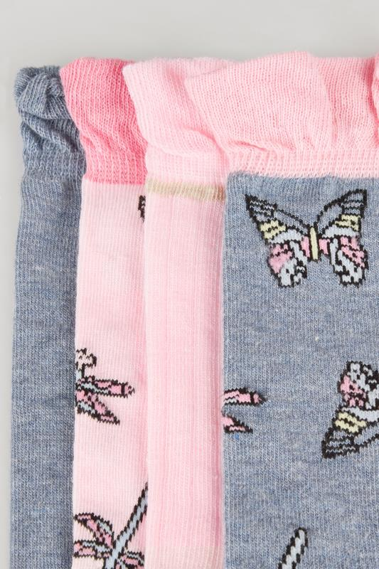 4 PACK Pink & Blue Butterfly Socks