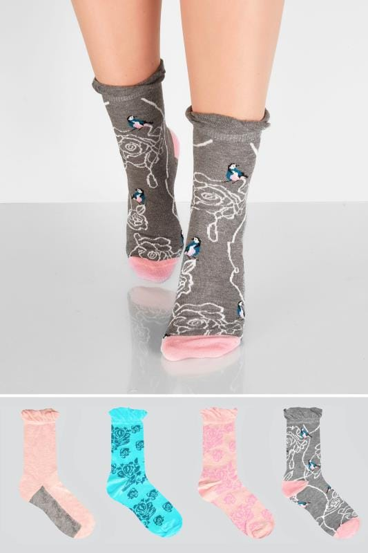4 PACK Pink, Blue & Grey Floral Bird Print Socks