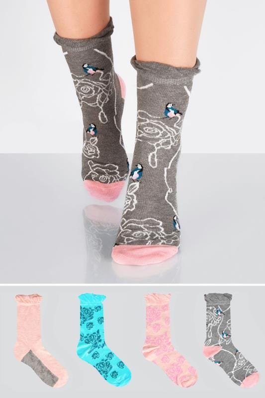 Plus Size Socks 4 PACK Pink, Blue & Grey Floral Bird Print Socks