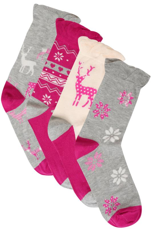 4 PACK Pink, Grey & Cream Fairisle & Deer Print Socks