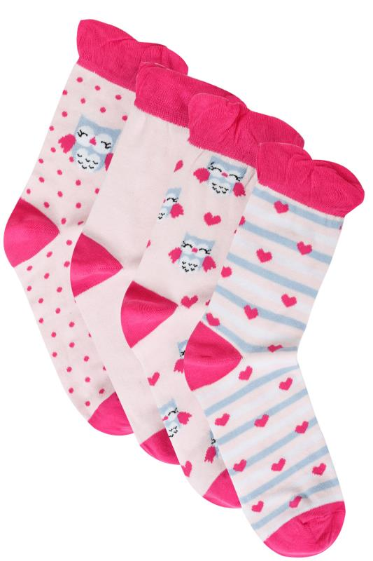 Socks 4 PACK Pink Mix Owl Print Socks 102904