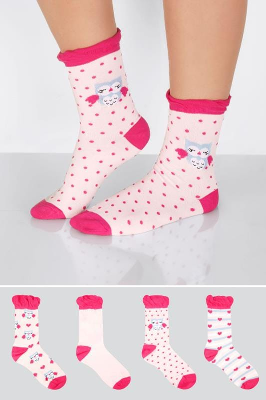 4 PACK Pink Mix Owl Print Socks
