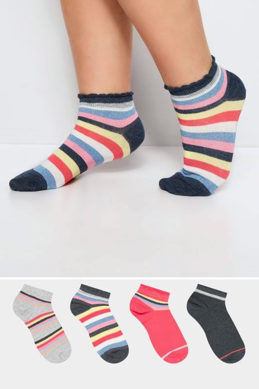 Plus Size Socks 4 PACK Rainbow Trainer Socks