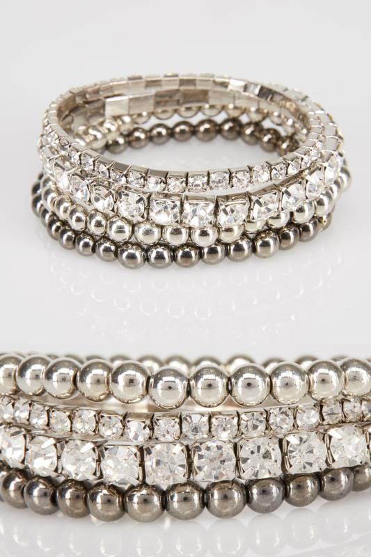 4 PACK Silver & Diamanté Stretch Bracelet