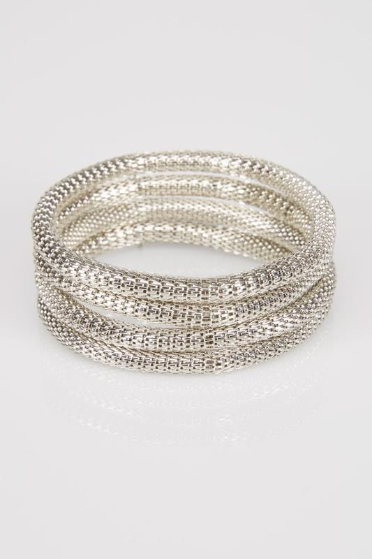 4 PACK Silver Tone Chainmail Bracelets