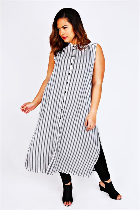 White & Black Stripe Maxi Length Button Down Sleeveless Shirt
