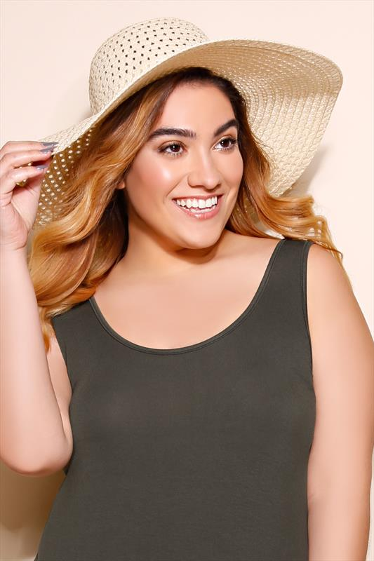 Straw Cut Out Detail Wide Brimmed Hat