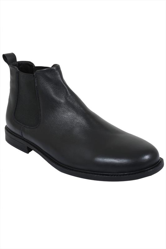 Black LEATHER Chelsea Boots In Wide Fit
