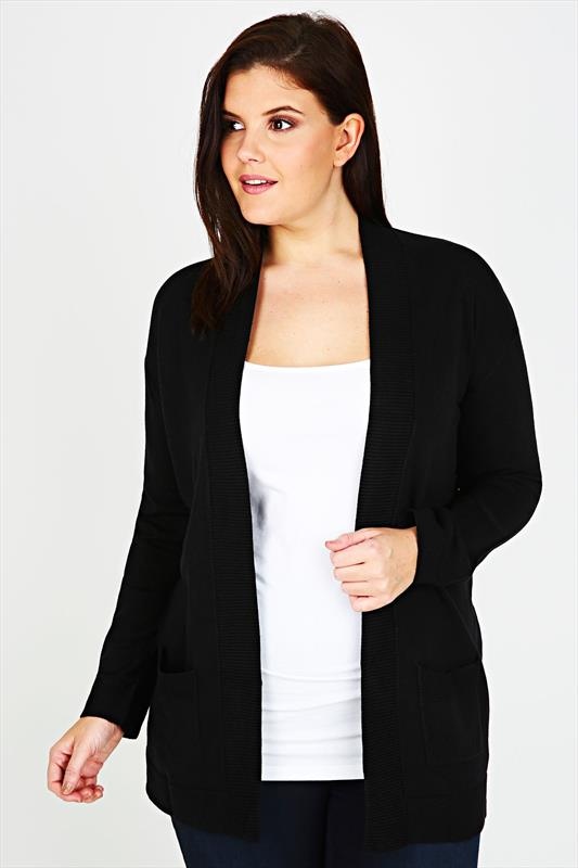 Black Edge to Edge Supersoft Knitted Cardigan With Pockets & Ribbing