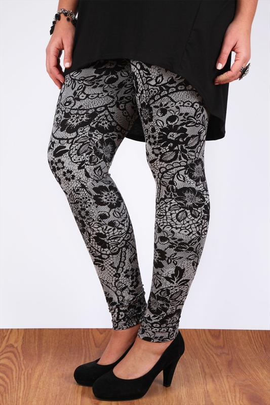 Grey And Black Floral Lace Print Full Length Leggings