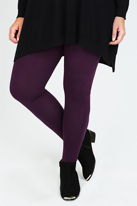 Dark Purple Viscose Elastane Full Length Leggings