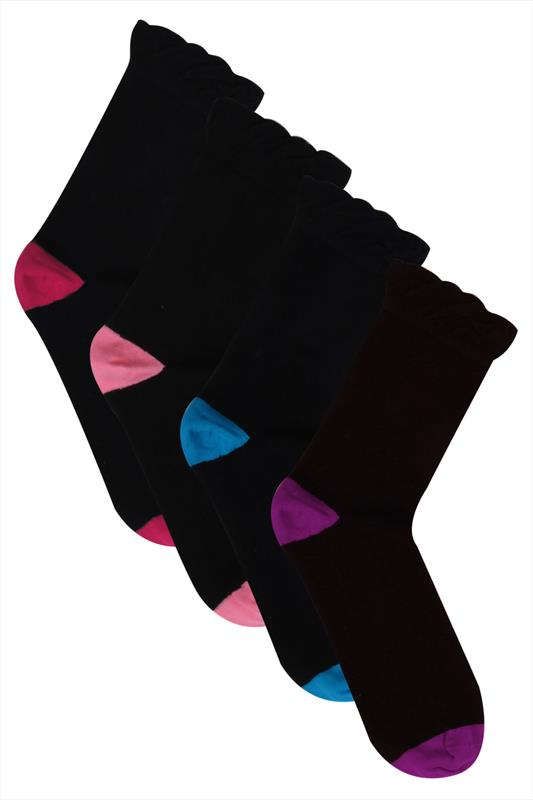 4 PACK Black Coloured Heel Toe Socks In Extra Wide Fit