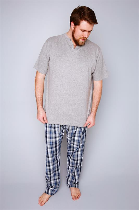 D555 Grey Notch Neck T-Shirt With Woven Check Trousers