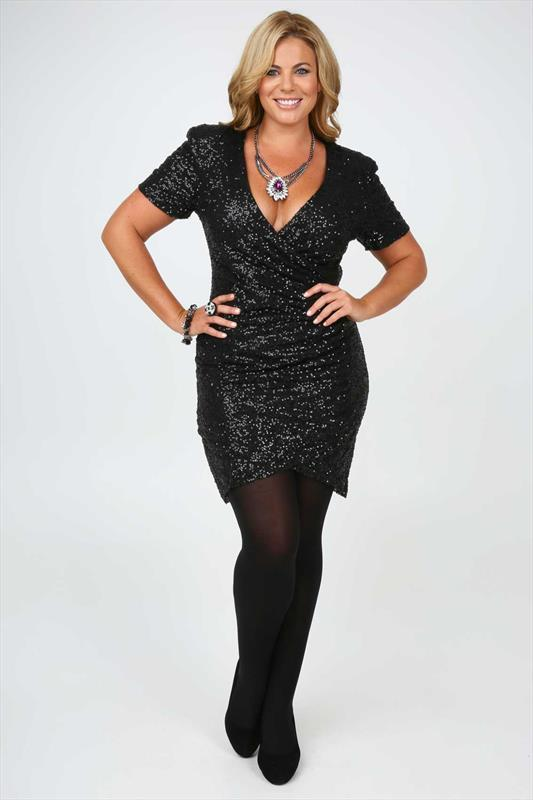 Black All Over Sequin Wrap Dress With Short Sleeves plus size 14 ...