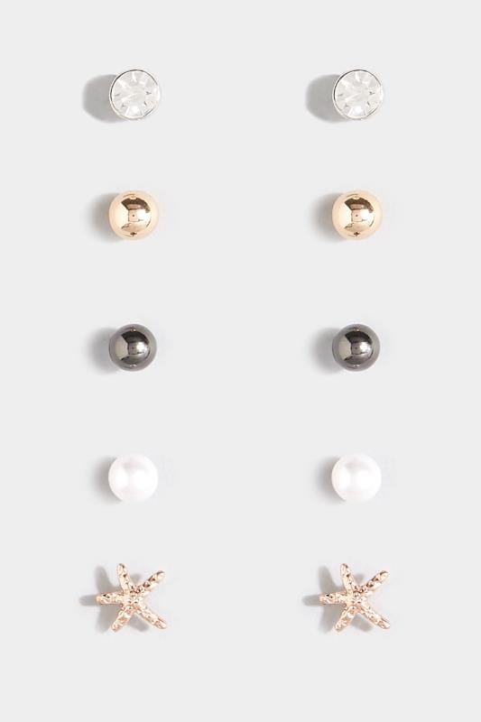 Plus Size Earrings 5 PACK Assorted Pearlescent Stud Earrings