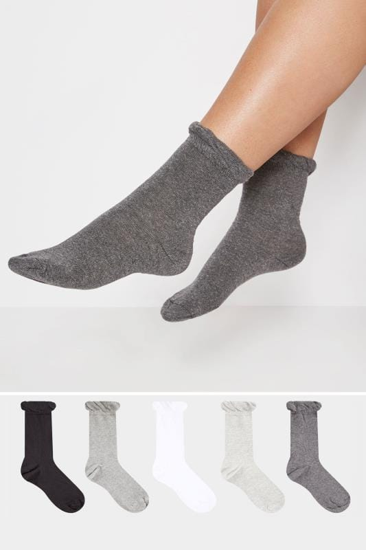 Plus Size Plus Size Socks 5 PACK Black, Grey & White Assorted Socks
