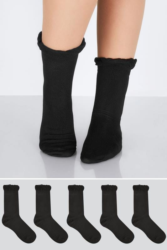 Plus Size Socks 5 PACK Black Socks In Extra Wide Fit