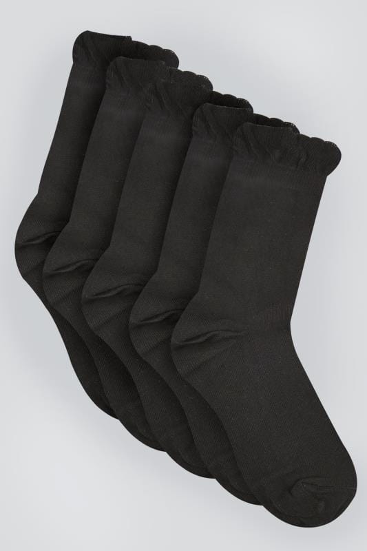Black 5 Pair Pack Socks In Extra Wide Fit Size 4 To 11