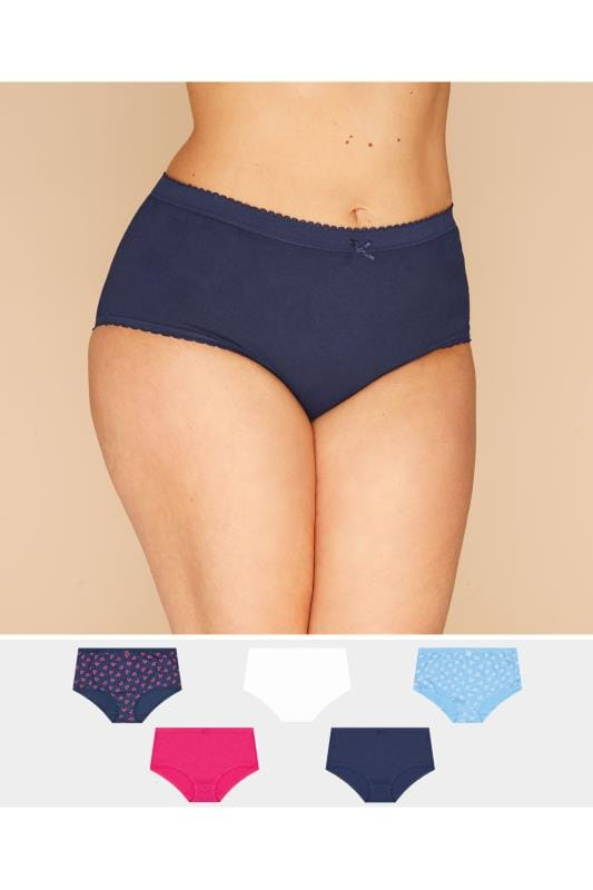 Plus Size Briefs 5 PACK Blue Heart Full Briefs