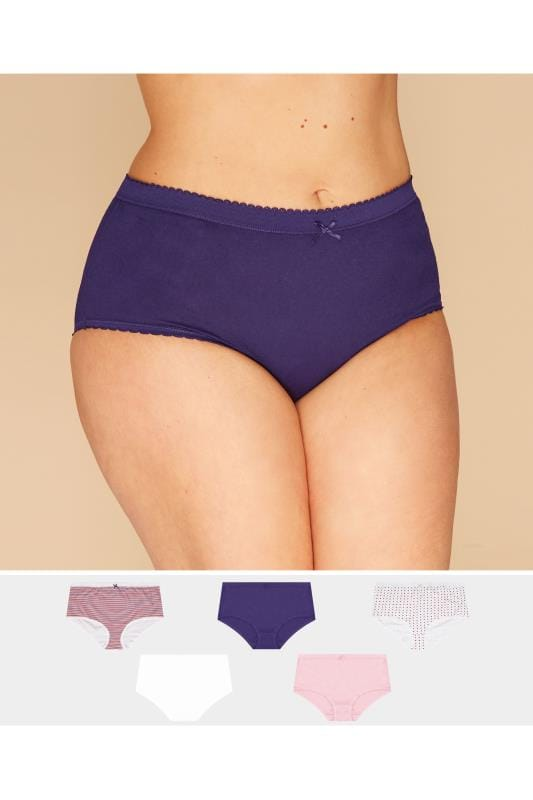 Plus Size Briefs 5 PACK Blue, Red & White Full Briefs