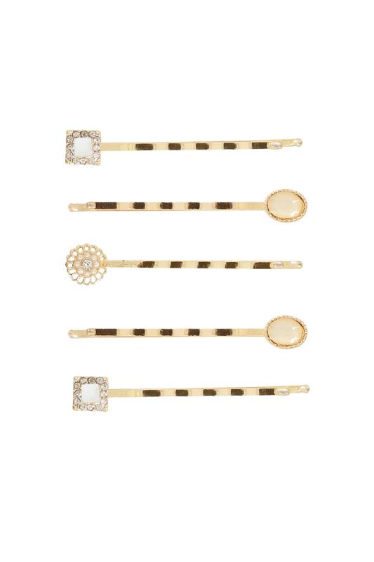 Plus Size Hair Accessories 5 PACK Gold & Pastel Stone Hair Slides