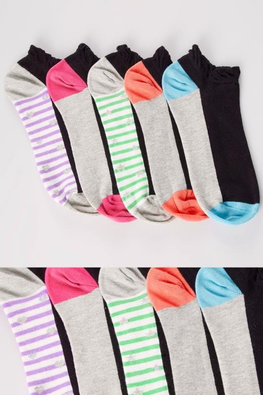 5 PACK Multi Block Colour & Stripe Trainer Socks