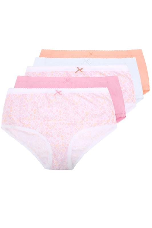 Plus Size Panties & Briefs 5 PACK Pastel Ditsy Floral Full Briefs