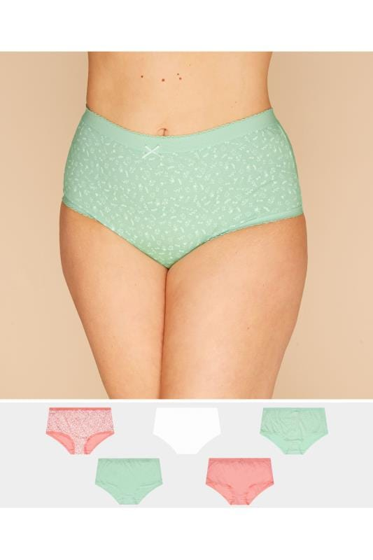 Plus Size Multipack Panties 5 PACK Pastel Floral Briefs