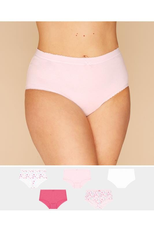 Plus Size Multi Value Packs 5 PACK Pink Butterfly Full Briefs