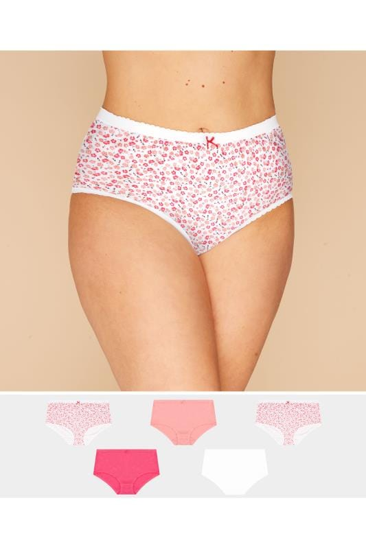 Plus Size Multipack Panties 5 PACK Pink & White Floral Full Briefs