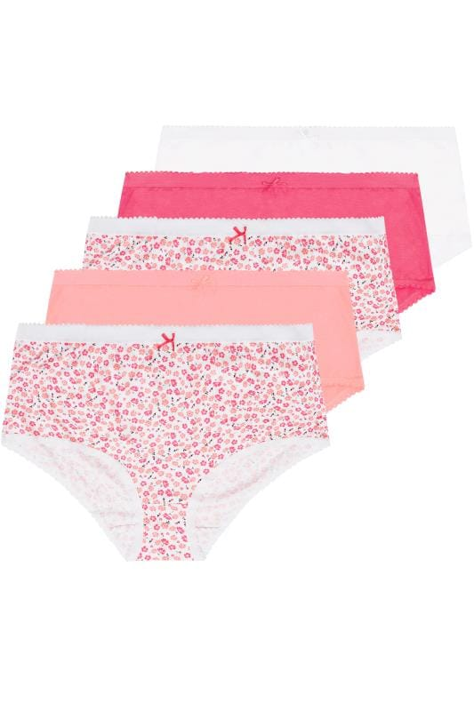 5 PACK Pink & White Floral Full Briefs