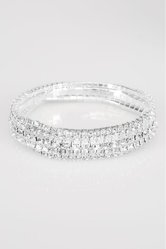 5 PACK Silver Diamante Bracelets