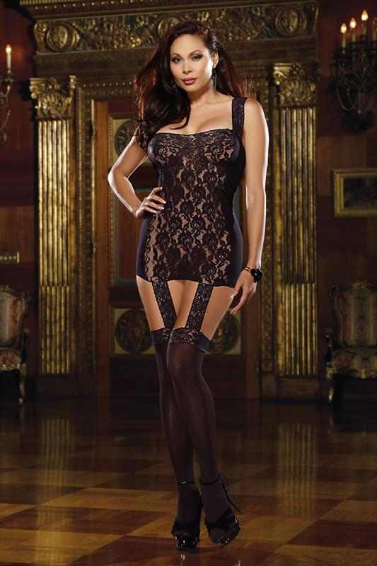 DREAMGIRL Black Lace Garter Dress With Garters & Stockings