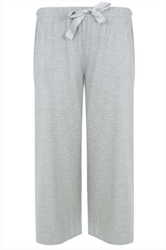 Grey Basic Cotton Pyjama Bottoms Plus Size 16 To 32-3920