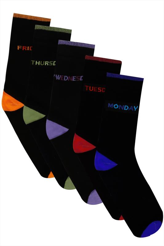 5 PACK BadRhino Black Days Of The Week Socks