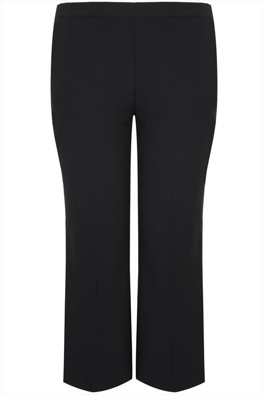 Black Classic Straight Leg Trousers With Elasticated ...